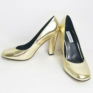 Steve Madden heels Myra gold round toe chunk heel